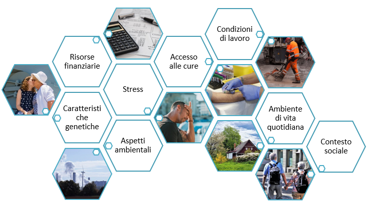 schema dei fattori alla base del concetto di salute