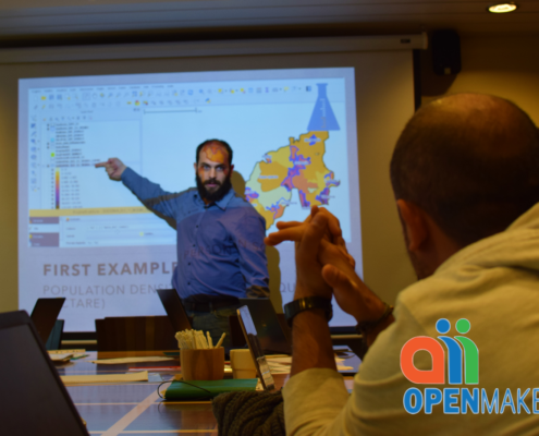 visualisation through QGIS of open data on a geographical map
