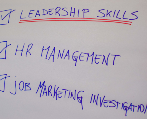 leadership skills, human resources management and job marketing investigation on a flip chart