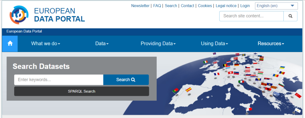 European portal of open data - screenshot