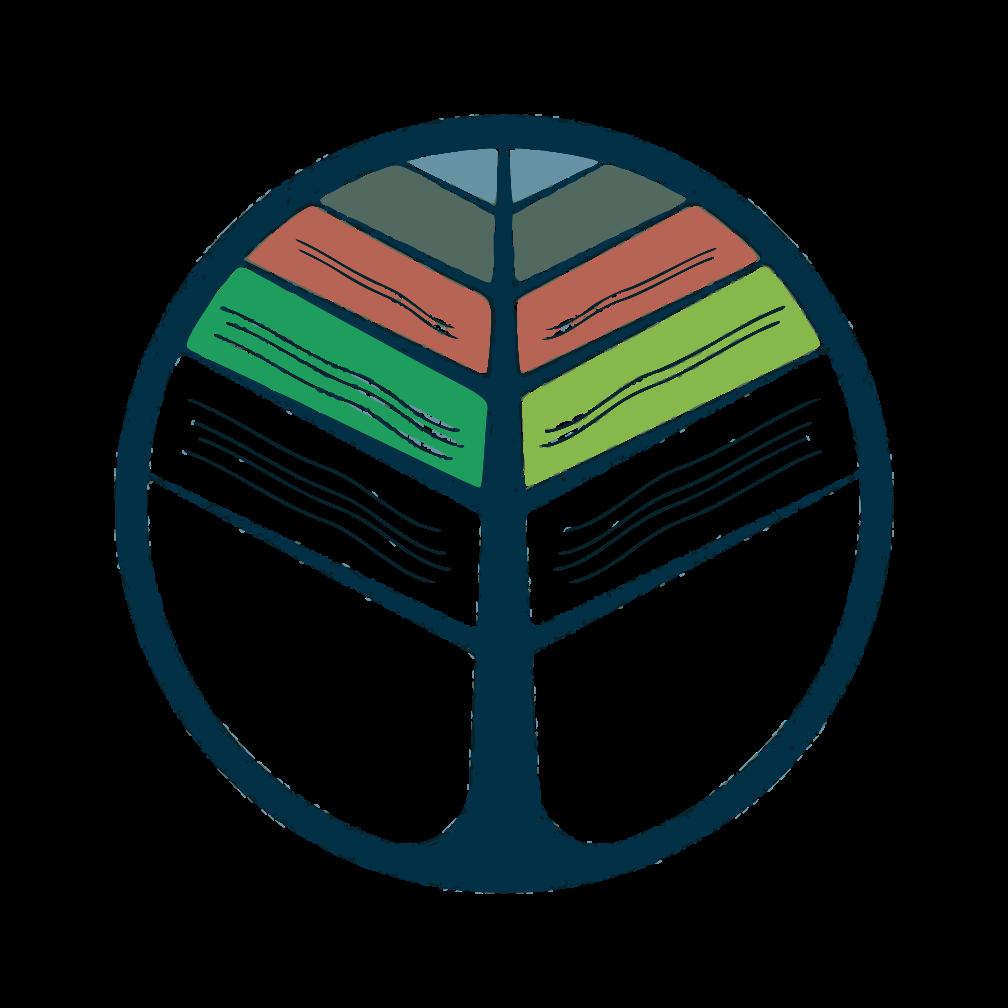 logo learnville - progetto europeo sull'apprendimentto per la trasformazione rurale. Il logo è la commistione tra le pagine di un libro e un albero
